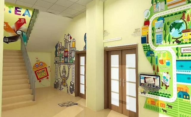 创客教室外的走廊设计效果图