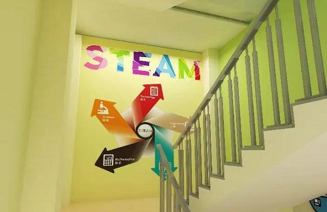 创客教室外墙楼层拐角设计效果图